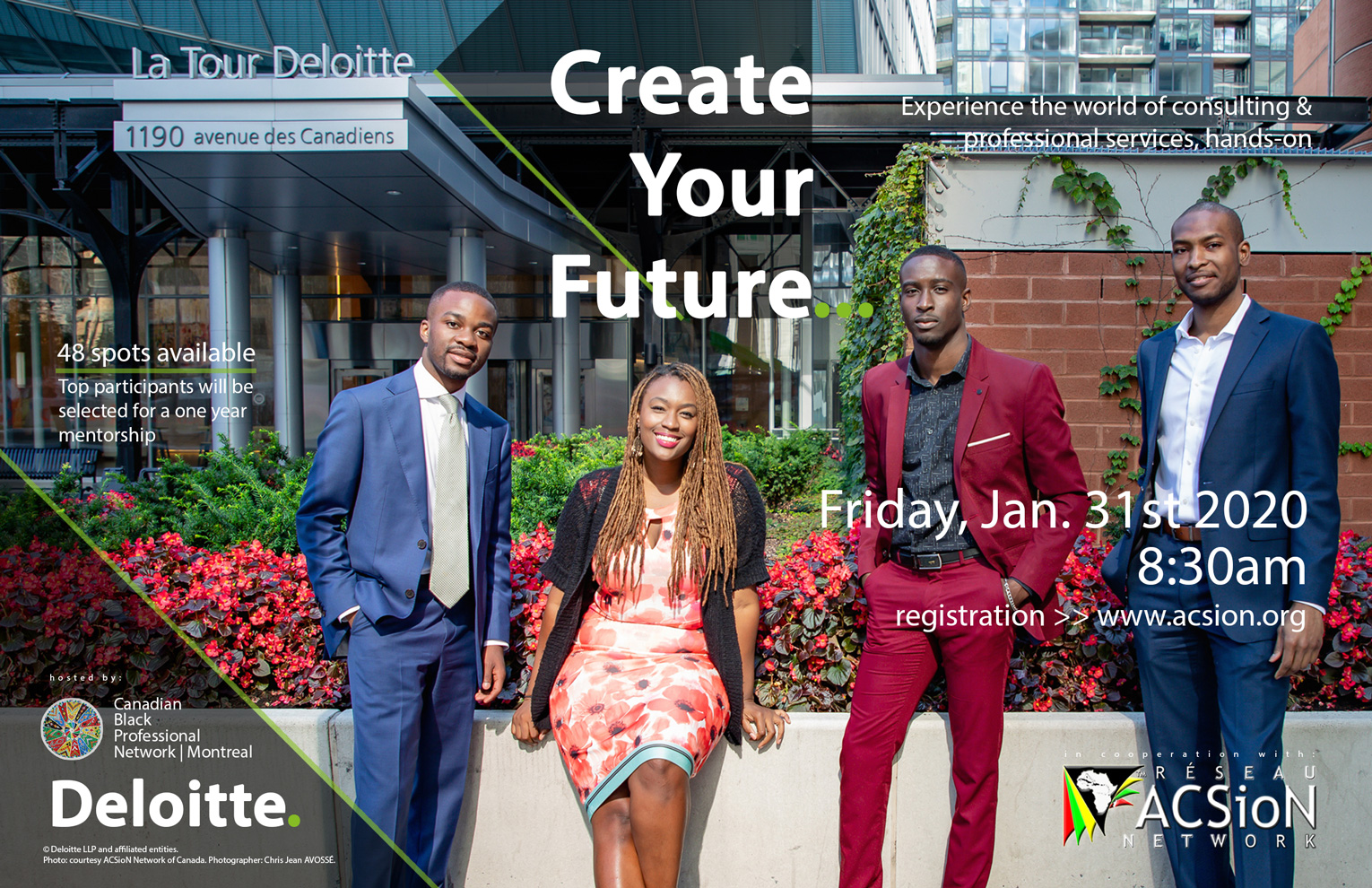 """Flyer for """"Create Your Future"""" event with Deloitte Canadian Black PRofessional Network and ACSioN Canada"""